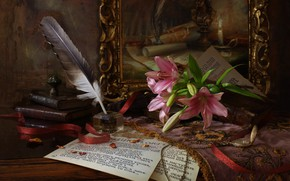 Обои часы, лилия, книги, бумаги, перо, картина