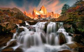 Картинка деревья, закат, горы, ручей, камни, скалы, водопад, Аргентина, Патагония