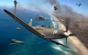Картинка Kingcobra, истребитель - бомбардировщик, P-63, WW2, Bell, живопись, ВВС РККА