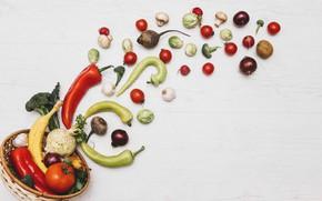 Картинка корзина, овощи, ассорти