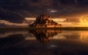 Картинка облака, замок, Франция, остров, Мон-Сен-Мишель