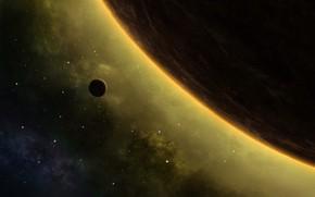 Обои space, stars, artwork, Planet, galaxy, digital art, moon, nebula, cosmos