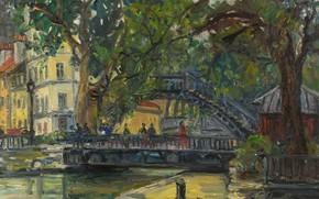Картинка деревья, мост, дома, картина, городской пейзаж, Канал Сен-Мартен. Париж, Arbit Blatas