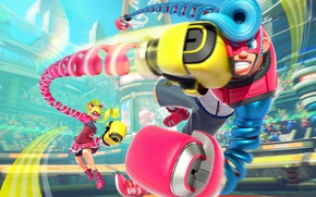 Картинка girl, game, robot, mecha, man, fight, punch, fighters, Arms, Nintendo Switch, Arms for Nintendo Switch, ...