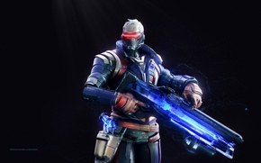 Картинка gun, pistol, game, soldier, weapon, man, rifle, mask, suit, strong, Overwatch, Soldier 76