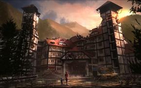 Картинка горы, дом, женщина, разруха, автомобиль, ребёнок, abandoned place
