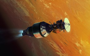 Картинка космос, поверхность, планета, аппарат, Cassini on Centaur
