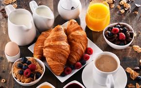 Картинка ягоды, малина, кофе, завтрак, молоко, сок, выпечка, круассаны, мюсли