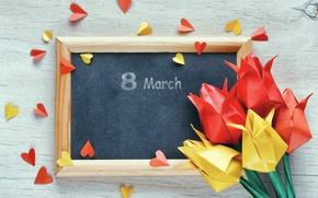 Картинка цветы, бумага, colorful, сердечки, тюльпаны, 8 марта, оригами, tulips
