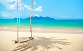 Картинка песок, море, пляж, солнце, пальмы, качели, берег, summer, beach, sea, island, sand, paradise, tropical