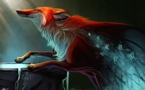 Картинка бабочки, дух, лиса, by TehChan