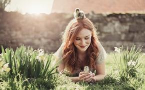 Картинка девушка, цветы, птицы