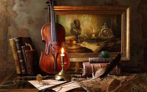 Обои стиль, картина, перо, книги, часы, натюрморт, свеча, скрипка
