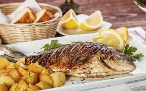 Картинка лимон, рыба, картофель