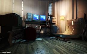 Картинка компьютер, помещение, ламинат, абажур, Wrecked Apartment
