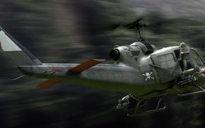 Картинка Bell, UH-1, Iroquois, Ирокез, американский многоцелевой вертолёт