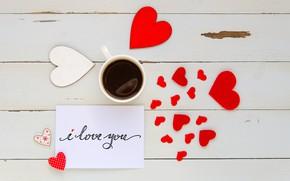 Картинка red, чашка, сердце, сердечки, I love you, любовь, кофе, romantic, wood, love, heart, coffee cup