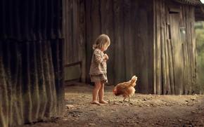 Картинка детство, курица, девочка