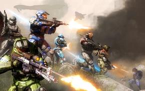 Картинка фантастика, война, доспехи, шлем, битва, halo, master chief, covenant