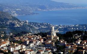 Картинка море, пейзаж, Франция, башня, дома, горі, Ла-Тюрби