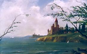 Картинка замок, берег, Морской пейзаж, 1995, Айбек Бегалин