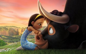 Картинка girl, bull, friends, animated film, Ferdinand, animated movie