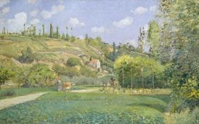 Картинка пейзаж, картина, Камиль Писсарро, Пастух в Вальгермиле. Овер-сюр-Уаз