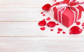 Обои Сердце, лепестки, Доски, сердечки, Бантик, Valentine's Day, День Святого Валентина, Подарки