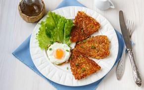 Картинка яйцо, нож, вилка, салат, драники