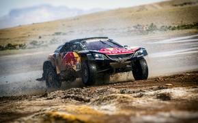 Картинка Авто, Спорт, Машина, Скорость, Гонка, Peugeot, Брызги, Фары, Red Bull, Rally, Dakar, Дакар, Внедорожник, Ралли, …