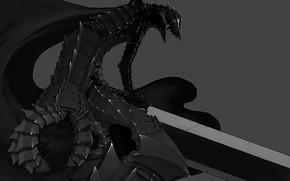 Картинка sword, game, armor, anime, man, ken, blade, Berserk, assassin, manga, powerful, strong, Guts, arms, bakemono