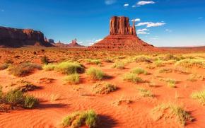 Обои песок, небо, трава, солнце, облака, камни, скалы, пустыня, простор, США, Arizona