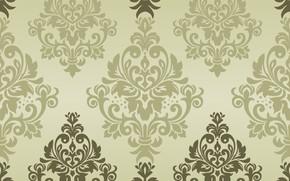 Обои зеленый, vector, текстура, орнамент, background, pattern, classic, seamless, damask