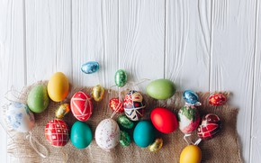 Картинка яйца, весна, colorful, Пасха, wood, spring, Easter, eggs, decoration, Happy