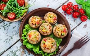Картинка грибы, еда, овощи, помидоры, гриль, запеченные шампиньоны