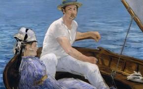 Картинка лодка, картина, импрессионизм, Edouard Manet, жанровая, Эдуард Мане, Гребля