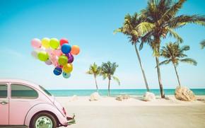 Картинка песок, море, волны, car, пляж, лето, небо, воздушные шары, пальмы, отдых, берег, colorful, summer, beach, …