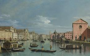 Картинка лодка, дома, картина, лодки, гондола, городской пейзаж, Bernardo Bellotto, Венеция. Гранд-канал, Бернардо Беллотто