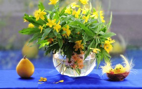 Картинка цветы, фото, цыплята, букет, весна, груша, натюрморт, композиция
