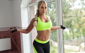 Картинка блондинка, форма, топик, фитнес, model, скакалка, Maria, PhotoDromm