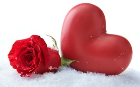 Обои Зима, Роза, Сердце, Снег, Праздник, День влюбленных