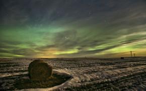 Обои звезды, поле, северное сияние