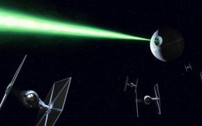 Обои cinema, космос, green, TIE Fighter, death star, фотошоп, зелёный, коллаж, звездные войны, империя, star wars, ...