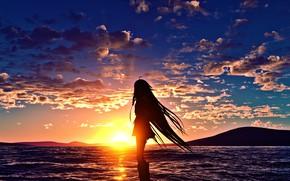 Картинка море, девушка, закат, силуэт, вокалоид, Йа