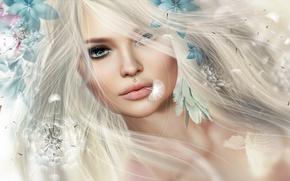 Картинка девушка, цветы, волосы