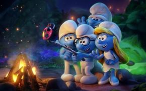 Картинка hat, blue, chibi, ladybug, animated film, animated movie, bonfire, barbecue, Smurfs The Lost Village, Smurfs ...