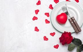 Картинка цветок, любовь, сердце, роза, нож, сердечки, love, вилка, romantic, Valentine's Day, сервировка