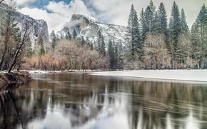 Обои зима, горы, река, природа