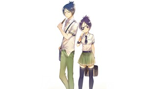 Картинка девушка, аниме, парень, Rokudou Mukuro, Katekyo Hitman REBORN!, Chrome Dokuro
