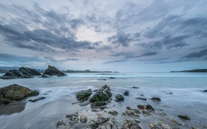 Картинка песок, море, волны, пляж, лето, небо, камни, берег, summer, сумерки, beach, sea, sunset, blue, seascape, …